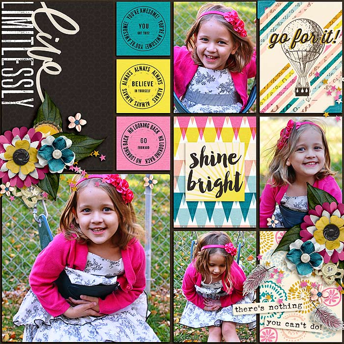 Limitless by KingsQueen82 | Great pocket page!! The dark background is the perfect touch! Bright colors and great choice of cards! Not to mention those super adorable photos!