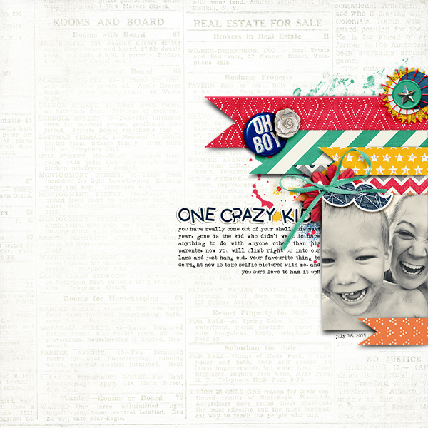 One Crazy Kid by bcnatty I LOVE this kit and, to me, this layout is PERFECT for it! Great whitespace layout. I really like the bright colors layered on the white baground. Really makes the entire layout just pop!