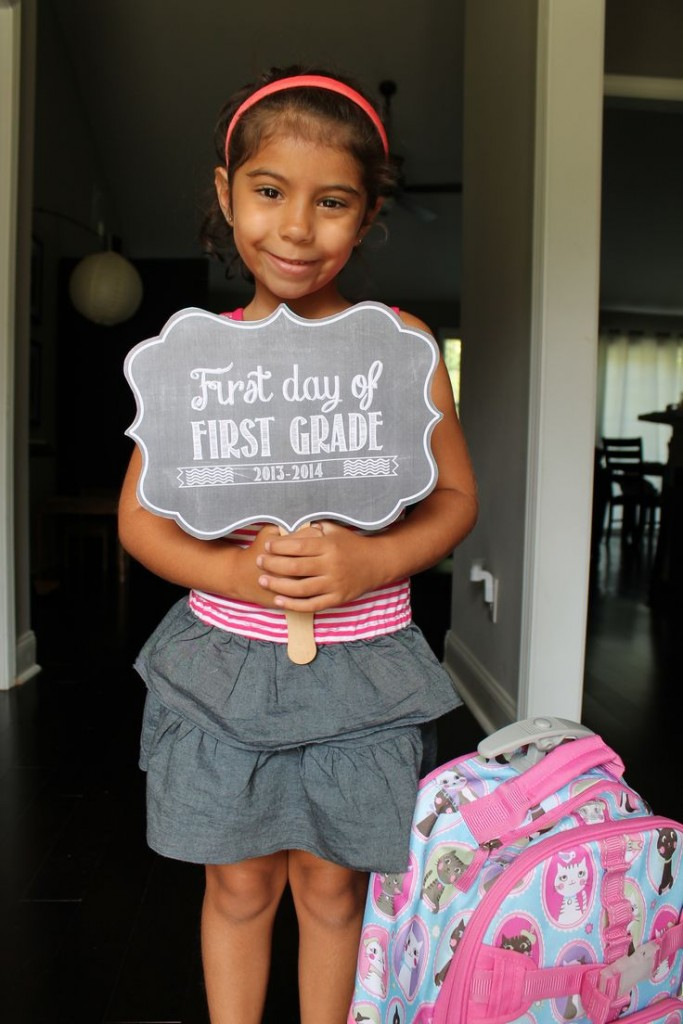 I know you have seen the 1st Day of school photos. Dig in that digital scrabooking stash and make your own!
