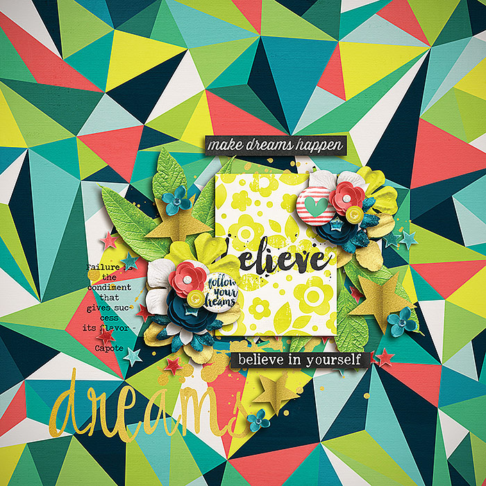 Believe by Gemma | Another great no-photo layout!! Look at the bold & great choice of background paper!