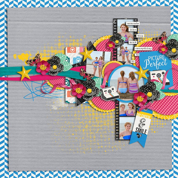 Picture perfect by ellasspace | I love Ella's layouts. Every time I see them. Such great clustering & layering. I really like the use of circles, paper, and the film strip!