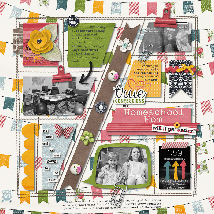Homeschool Mom Confessions by mocamom | A block style layout with a twist! Great use of paper & the template used. I really like the little bits of journaling here & there.