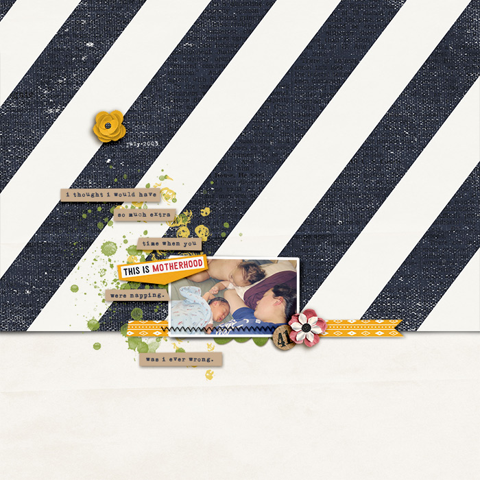This-Is-Motherhood-AYD by bcnatty | Beautiful whitespace layout! I really like the use of the slip paper & the bold stripes of the top paper. It all draws your eyes to the sweet photo. Is this not the perfect example of motherhood?