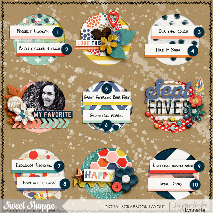 September Faves 2015 by Nettio | I am a fan of Lynnette's layouts! Such a great use of paper, circles, & word strips!