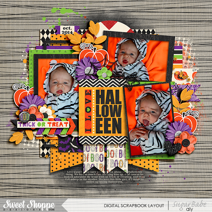 I Love Halloween by aly321 | All those bright colors (espeically the orange) just popping off the more muted background. How can that not capture your attention?! Not to mention the super cute photos, fantastic layering, great paper choices, and just the right amount of clusters. Great layout!
