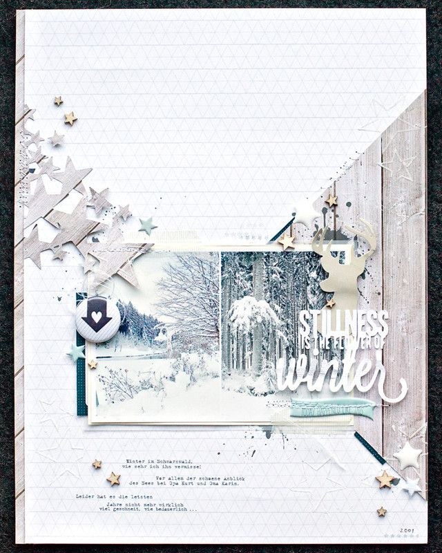 This layout is winter! Not just the photos. The colors of this layout makes it look more part of the photos than a scrapbook layout.