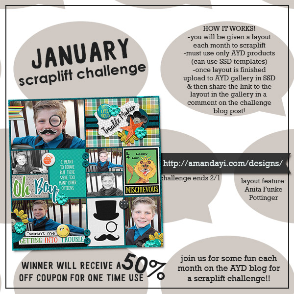 January Scraplift Challenge! Featured Layout: Anita Funke Pottinger!