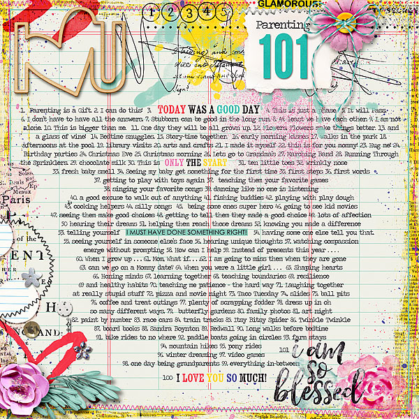 Good Things #6 101 good thoughts by mimisgirl | love love love non photo layouts! Everything on this layout compliments each other. Wonderful title work and great accents all around the layout.