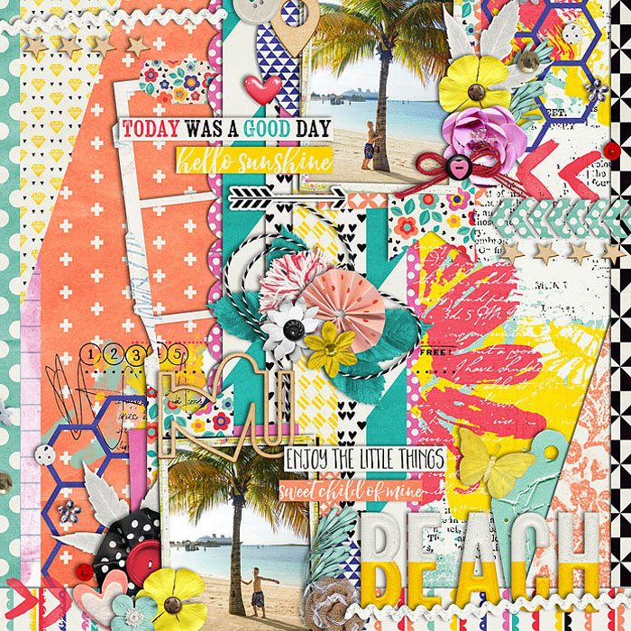 Beach by cmkb396 | I love a well filled layout. So many yummy layers to this layout! I felt like I could reach out and touch this layout.