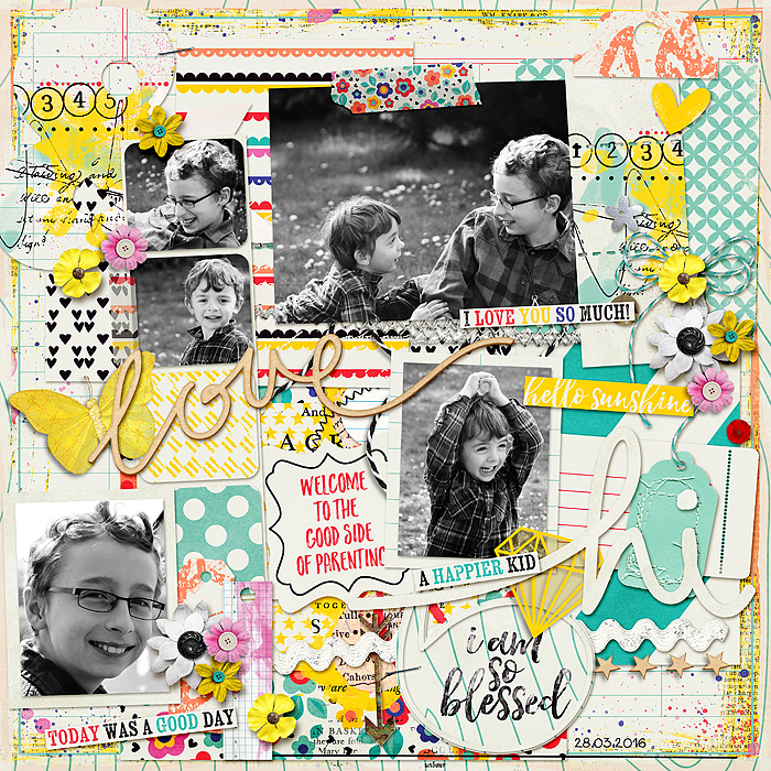 Oh Happy Day by ttt83 | I love the bulletin board feel to this layout. The black and white photos and the white background really makes the bright colors pop.