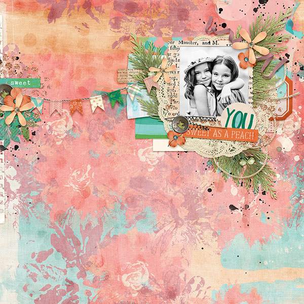Sweet as a Peach by wombat146 | Created with You're A Peach by Amanda Yi, Brook Magee & Captivated Visions | Perfect choice of b&w photo against the painted paper. Wonderful layering and great balance to this layout.