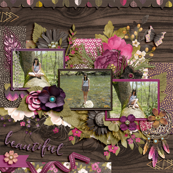 Beautiful by CarolinaScrapper   Boho Fall by Amanda Yi & Studio Flergs   Lovely photos and she compliments them wonderfully with her cluster work. Great flow to the page and composition. The larger clusters really make this layout stand out int he gallery.