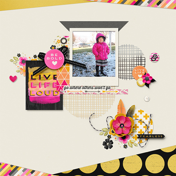 Live Life Loud by zanthia122 | Amanda Yi and Studio Flergs - Be Bold | A simpler layout as far as design goes but not as far as it's stand out quality. This is wonderfully scrapped. I feel like you can reach out and touch this layout. That it was made with glue and scissors. I really like all the perfect little touches.