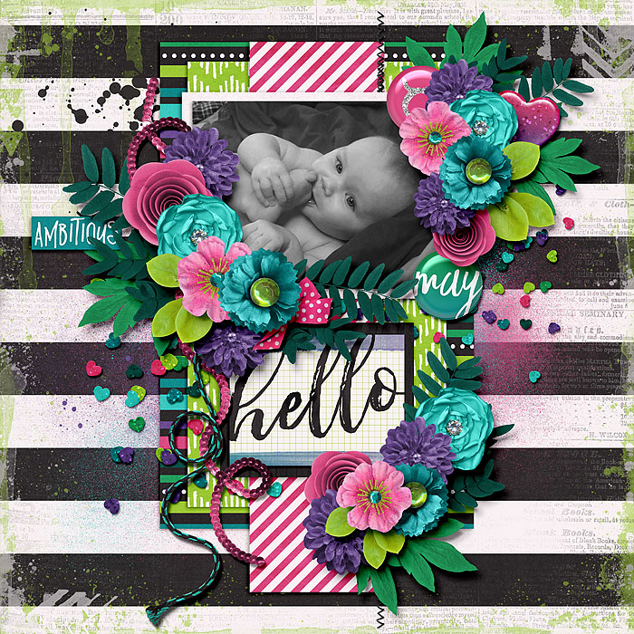Hello Taurus by ScrappinRae | My Zodiac | Taurus by Juno Designs & Amanda Yi | WOWZERS! We won't even talk about the adorbs photo. Look at those clusters! Great paper choices and the simple title is the icing on the clustery cake.