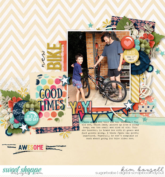 New Bike by jak   Its a Good Day - Amanda Yi and Sugary Fancy   Great composition! This layout really flows. For me, the photo 1st caught my eye and then just flowed to everything else. A great memory to scrap; and good use of the journal card.