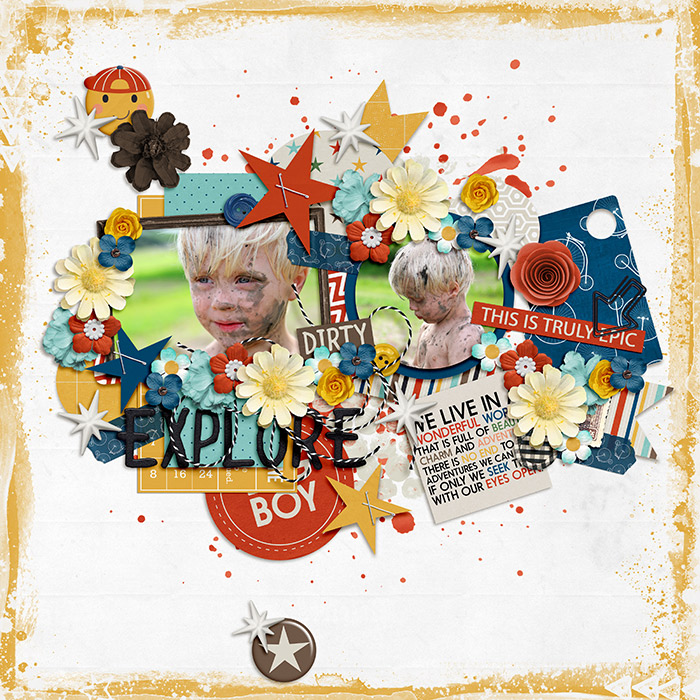 Explore by Mother Bear | Adventure Awaits by Amanda Yi and Two Tiny Turtles | I am not going to lie...I am a huge fan of Mother Bear's layouts. She knows how to take a kit and scrap it! Fun photos and great layering and clustering. Everything seems to have it's place and is perfect there.