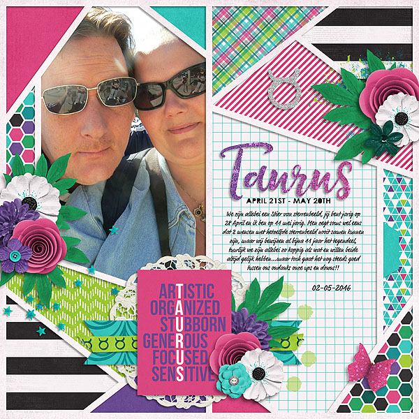 Taurus by Natascha | My Zodiac - Taurus: Bundle by Amanda Yi & Juno Designs | So I've mentioned that I love layouts with patterned papers, right? This is like a fun digital scrapbooking quilt. Love it!