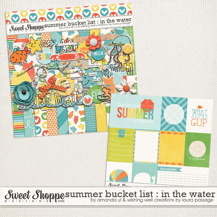 Summer Bucket List : In The Water by Amanda Yi & Laura Passage | This add-on kit is all about water fun and swimming! Capture all of your wet and splashy memories with this kit & coordinated cards! Made to coordinate with Summer Bucket List : Collection