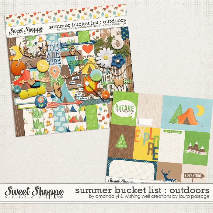 Summer Bucket List : The Great Outdoors by Amanda Yi & Laura Passage | Enjoy the great outdoors with this nature themed kit and coordinating cards! Made to coordinate with Summer Bucket List!