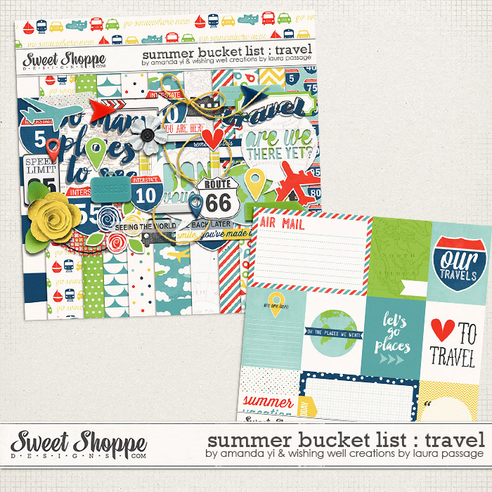 Summer Bucket List : Travel by Amanda Yi & Laura Passage | This add-on kit is all about vacations and traveling! Go somewhere new and capture memories with this kit & coordinated cards! Made to coordinate with Summer Bucket List : Collection